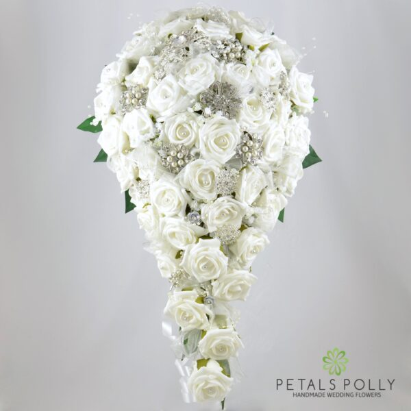 White Foam Rose Package with Diamante Brooches