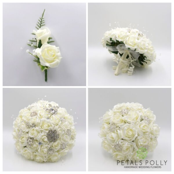 Ivory Foam Rose Package with Diamante Brooches